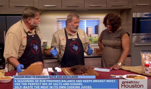 Bill Cannon (center) explains the value of a good rub when cooking brisket on Great Day Houston.